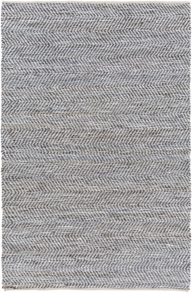 Gideon Contemporary Olive Gray Jute Leather Area Rug (L 90 X W 60) GDE4007-576