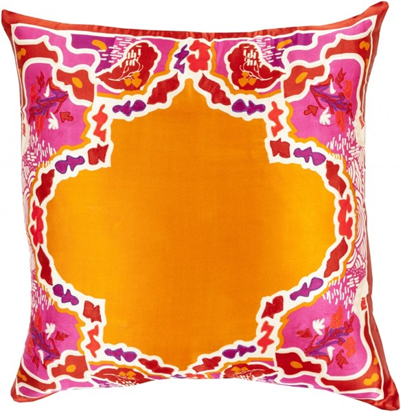 Geisha Orange Cherry Silk Square Throw Pillow (L 18 X W 18 X H 4) GE002-1818P