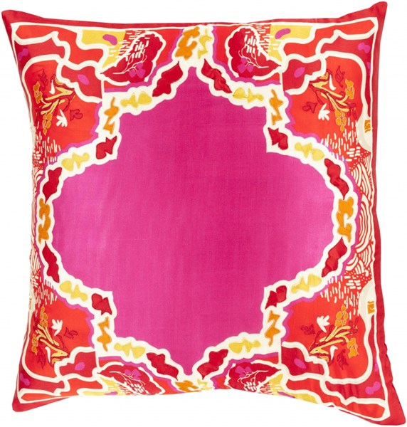Geisha Magenta Cherry Orange Beige Poly Silk Throw Pillow - 18x18x4 GE003-1818P