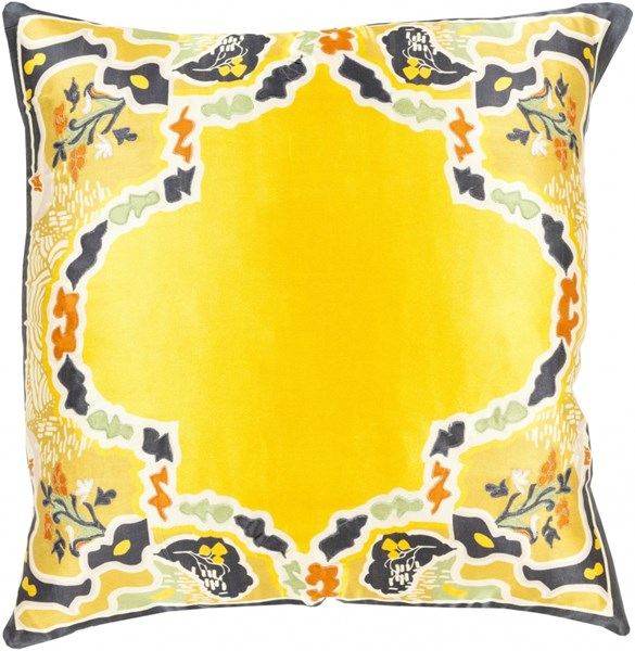 Geisha Gold Orange Silk Global Throw Pillow (L 20 X W 20 X H 5) GE004-2020P