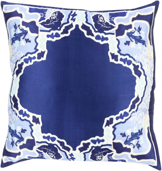 Geisha Blue Ivory Silk Throw Pillow (L 18 X W 18 X H 4) GE007-1818D