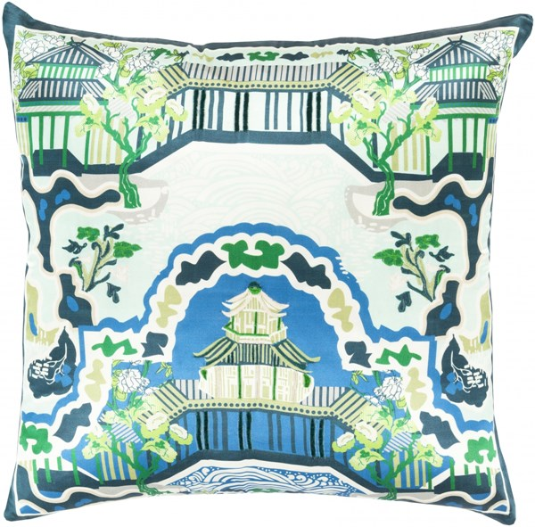 Geisha Aqua Green Beige Silk Throw Pillow (L 20 X W 20 X H 4) GE008-2020D