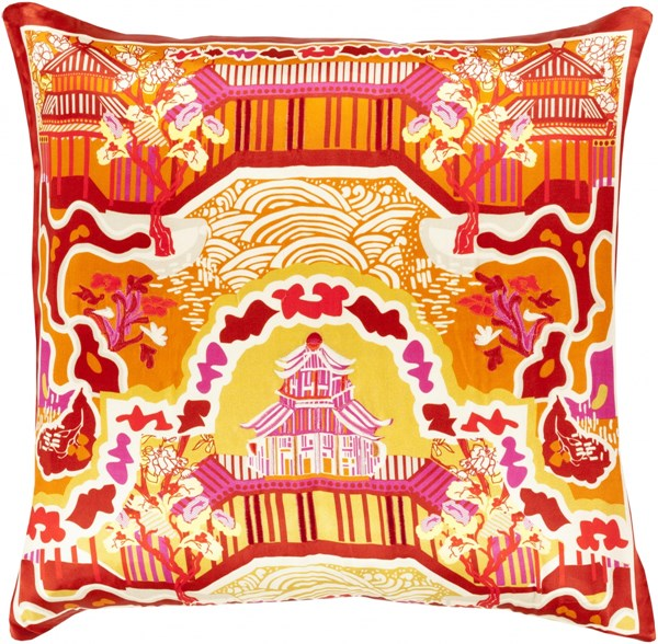 Geisha Orange Cherry Silk Square Throw Pillow (L 20 X W 20 X H 5) GE009-2020D