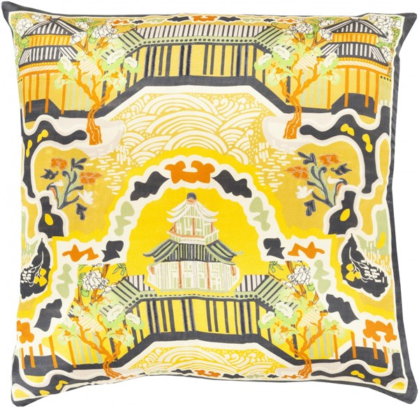Geisha Gold Orange Beige Silk Global Throw Pillow (L 20 X W 20 X H 5) GE010-2020P