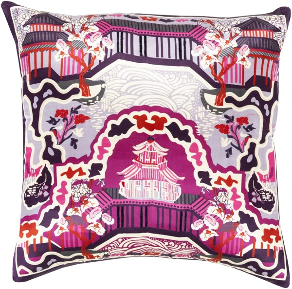 Geisha Lavender Cherry Ivory Silk Throw Pillow (L 22 X W 22 X H 5) GE012-2222D