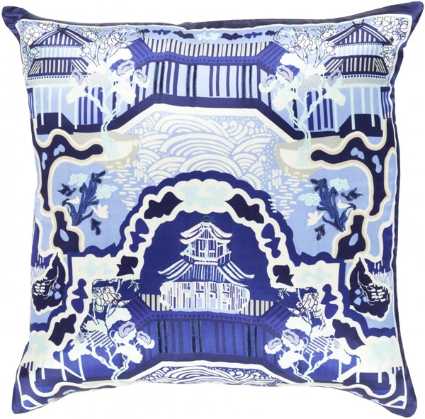 Geisha Blue Mint Ivory Silk Throw Pillow (L 18 X W 18 X H 4) GE013-1818D