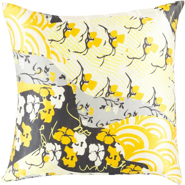 Geisha Gold Lemon Gray Beige Ivory Poly Silk Throw Pillow - 20x20x5 GE014-2020P