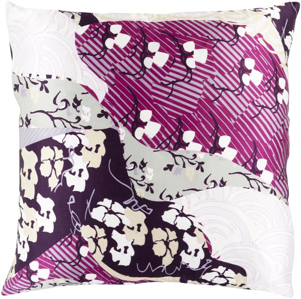 Geisha Violet Slate Lavender Olive Down Silk Throw Pillow - 20x20x5 GE015-2020D