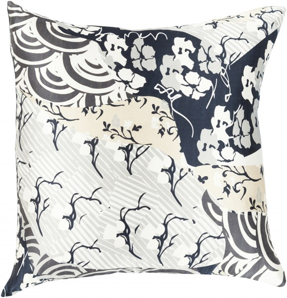 Geisha Forest Slate Beige Ivory Poly Silk Throw Pillow - 22x22x5 GE017-2222P
