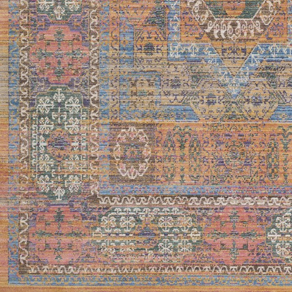 Surya Germili Bright Blue Orange Khaki Sample Area Rug - 18 x 18 GER2302-1616