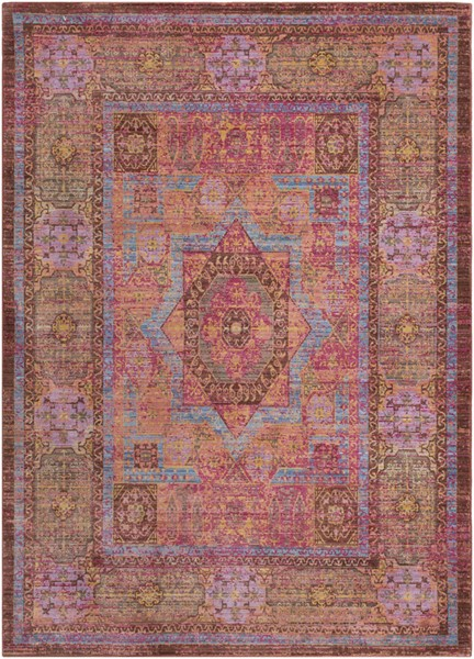 Surya Germili Bright Pink Sky Blue Burgundy Area Rug - 36 x 24 GER2303-23