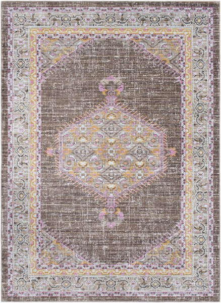 Surya Germili Dark Brown Taupe Bright Yellow Area Rug - 123 x 94 GER2316-710103
