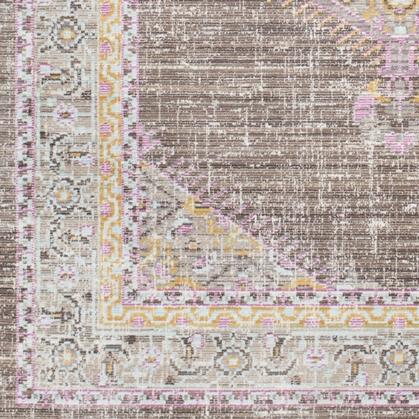 Surya Germili Dark Brown Taupe Bright Yellow Sample Area Rug - 18 x 18 GER2316-1616