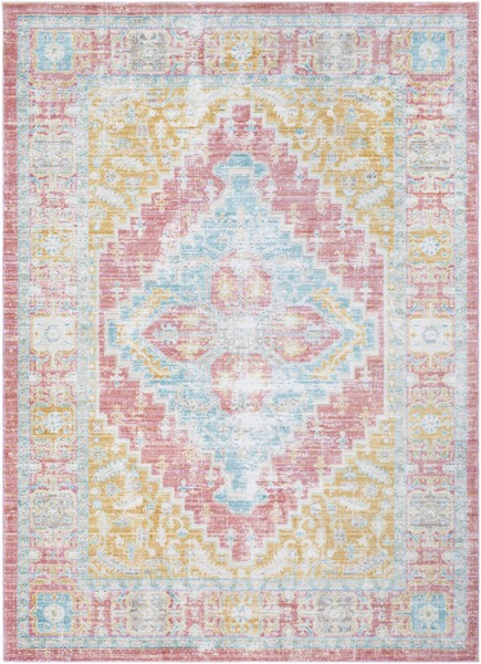 Surya Germili Coral Mint Bright Yellow Area Rug - 90 x 63 GER2322-5376