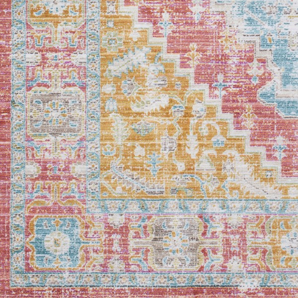 Surya Germili Coral Mint Bright Yellow Sample Area Rug - 18 x 18 GER2322-1616