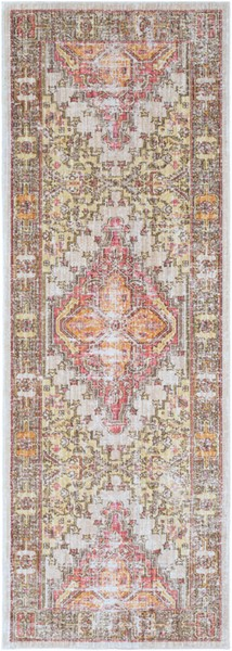 Surya Germili Bright Yellow Camel Dark Brown Runner - 94 x 35 GER2323-211710