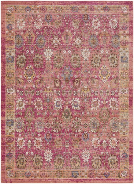 Surya Germili Bright Pink Yellow Dark Blue Area Rug - 157 x 108 GER2326-9131