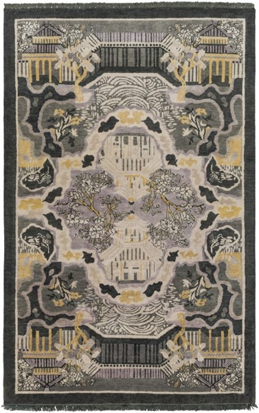 Geisha Forest Charcoal Gold Light Gray Wool Area Rug - 60 x 96 GES1006-58