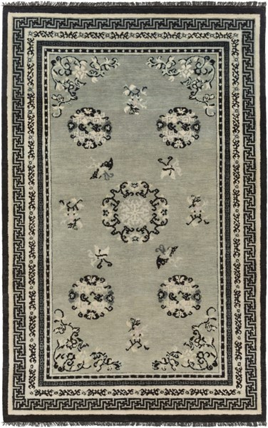 Geisha Ivory Light Gray Moss Forest Black Wool Area Rug - 60 x 96 GES1017-58