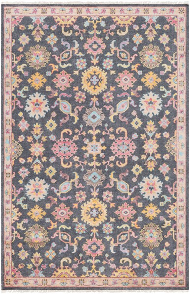 Surya Gorgeous Charcoal Bright Pink Yellow Area Rug - 156 x 108 GGS1000-913