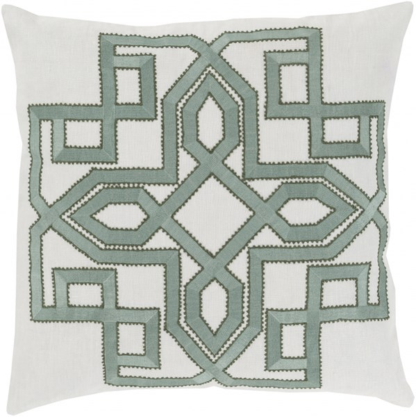 Gatsby Ivory Moss Forest Poly Linen Throw Pillow - 22x22x5 GLD001-2222P