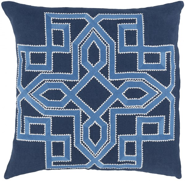 Gatsby Navy Sky Blue Ivory Poly Linen Throw Pillow - 18x18x4 GLD002-1818P
