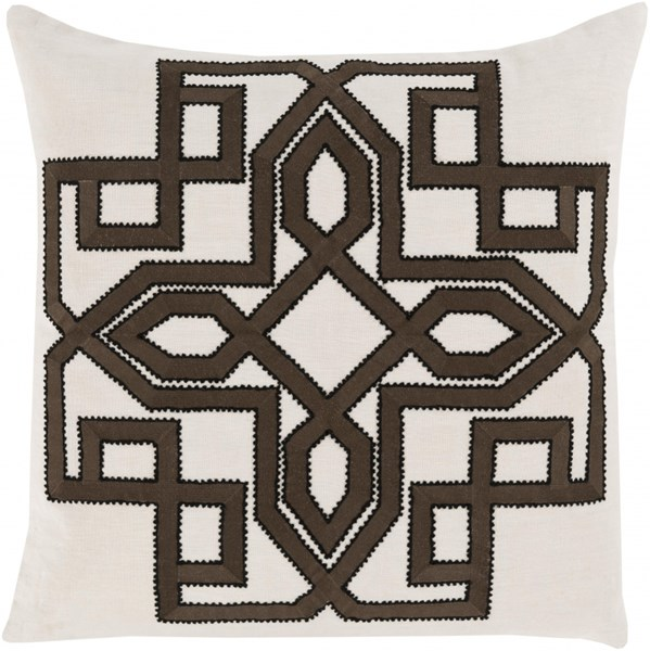 Gatsby Ivory Chocolate Black Poly Linen Throw Pillow - 20x20x5 GLD004-2020P