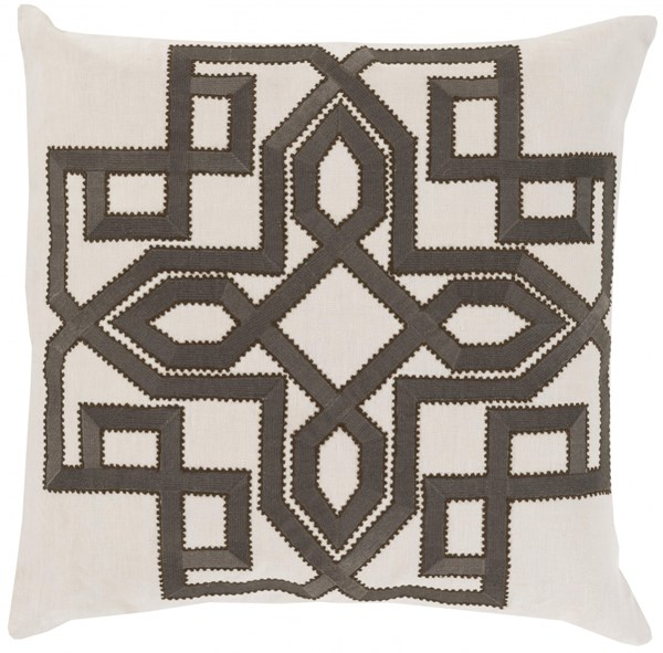 Gatsby Ivory Forest Chocolate Poly Linen Throw Pillow - 18x18x4 GLD005-1818P