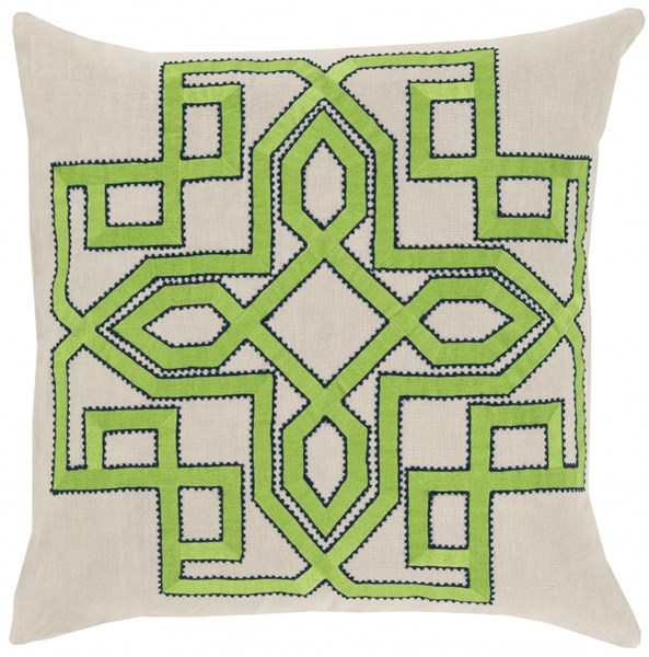 Gatsby Ivory Lime Cobalt Down Linen Throw Pillow - 22x22x5 GLD006-2222D
