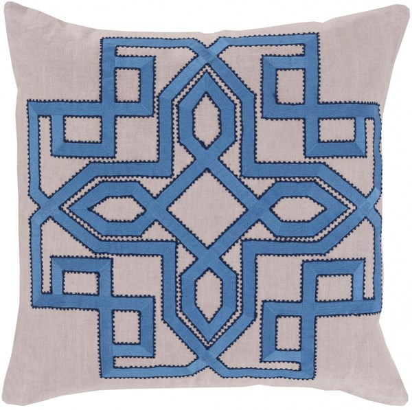 Gatsby Taupe Sky Blue Navy Poly Linen Throw Pillow - 18x18x4 GLD007-1818P