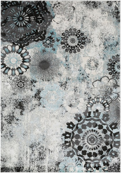 Surya Glimmer Pale Blue Medium Gray Cream Area Rug - 36 x 24 GLI1006-23