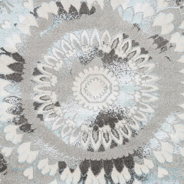 Surya Glimmer Pale Blue Light Gray Cream Sample Transitional Area Rug - 18 x 18 GLI1009-1616