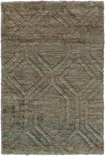 Galloway Contemporary Teal Ivory Chocolate Jute Area Rugs 12826-VAR1
