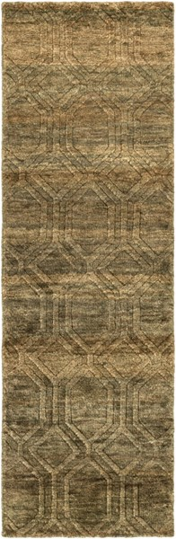 Galloway Contemporary Olive Ivory Chocolate Jute Runner (L 96 X W 30)  GLO1005-268