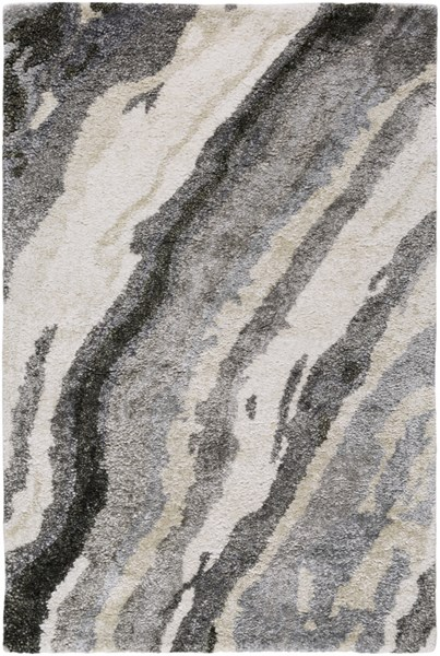 Gemini Charcoal Gray Ivory Fabric Abstract Area Rug (L 36 X W 24) GMN4034-23