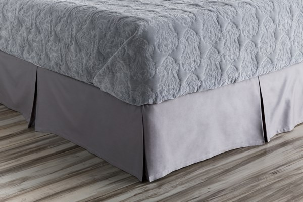 Griffin Pewter Cotton California King Bed Skirt - 84x72x15 GRF1000-CSKT