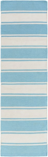 Habersham Sky Blue Ivory PET Yarn Runner - 30 x 96 HAB8006-268