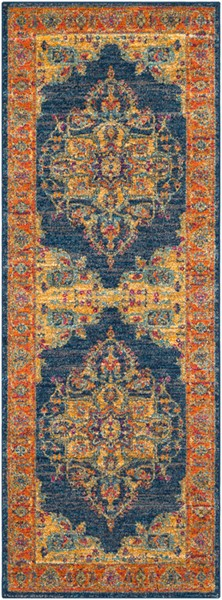 Surya Harput Teal Burnt Orange Dark Blue Runner - 87 x 31 HAP1004-2773