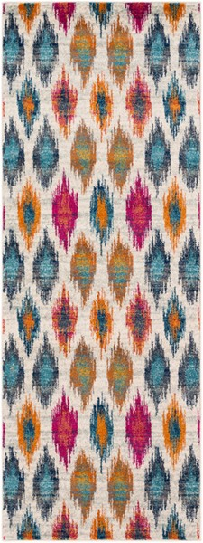 Surya Harput Burnt Orange Light Gray Dark Blue Runner - 87 x 31 HAP1005-2773