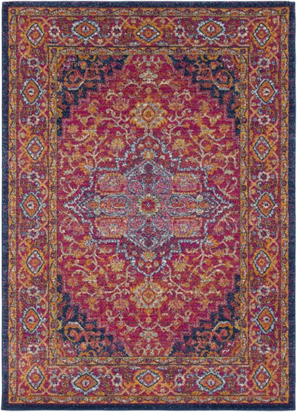 Surya Harput Dark Blue Saffron Burnt Orange Traditional Area Rug - 87 x 63 HAP1009-5373