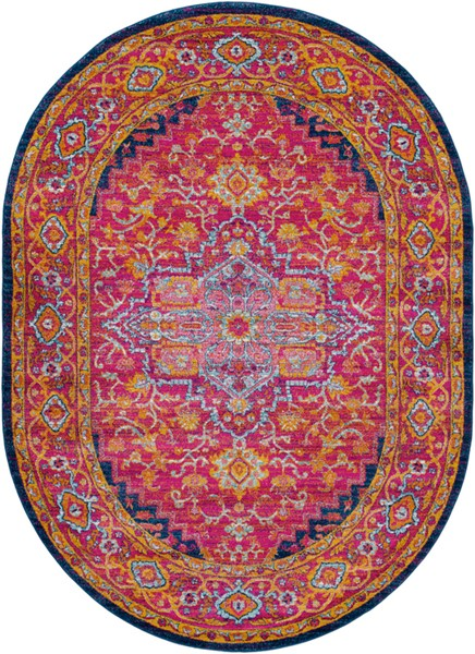 Surya Harput Dark Blue Saffron Burnt Orange Traditional Oval Area Rug - 108 x 79 HAP1009-679OV