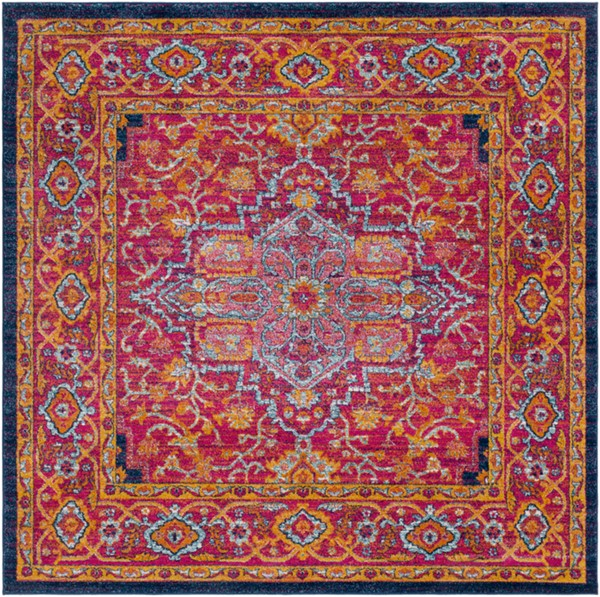 Surya Harput Dark Blue Saffron Burnt Orange Traditional Square Area Rug - 79 x 79 HAP1009-67SQ