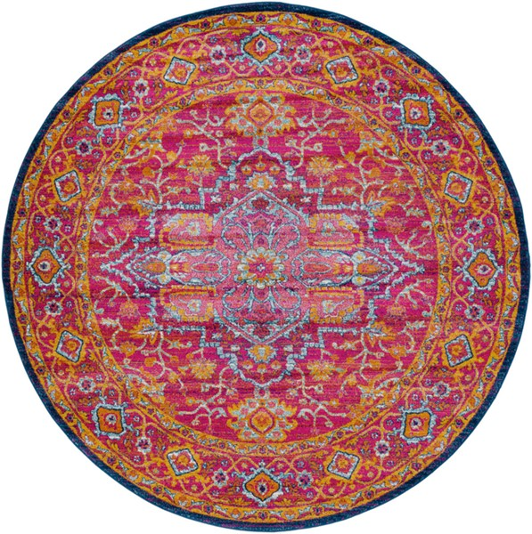 Surya Harput Dark Blue Saffron Burnt Orange Traditional Round Area Rug - 94 x 94 HAP1009-710RD
