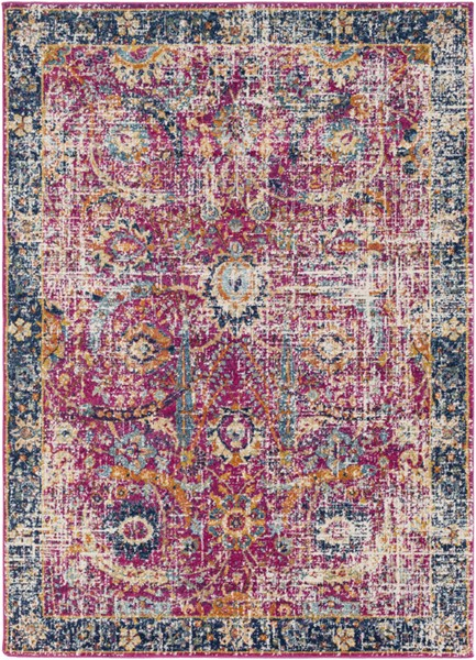 Surya Harput Dark Blue Saffron Burnt Orange Area Rug - 123 x 94 HAP1013-710103