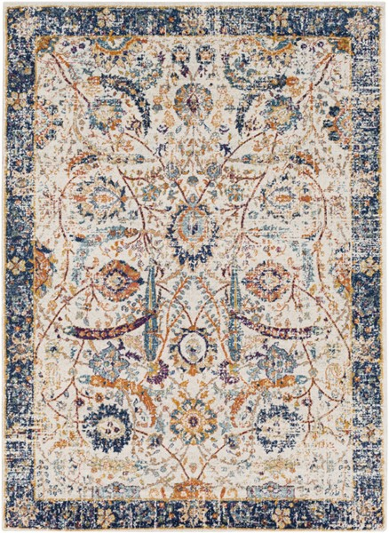 Surya Harput Dark Blue Burnt Orange Light Gray Area Rug - 87 x 63 HAP1014-5373