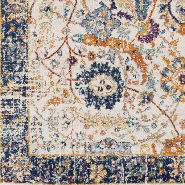 Surya Harput Dark Blue Burnt Orange Light Gray Sample Area Rug - 18 x 18 HAP1014-1616