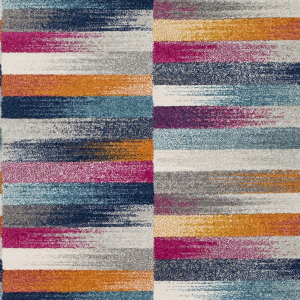 Surya Harput Light Gray Burnt Orange Dark Blue Modern Area Rug - 18 x 18 HAP1017-1616