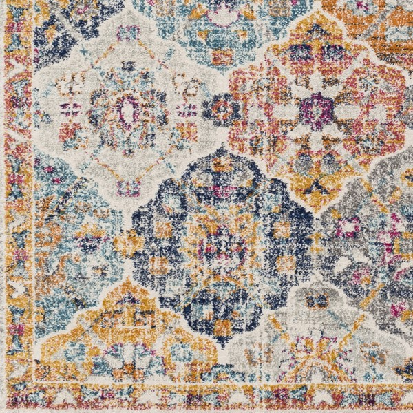 Surya Harput Saffron Burnt Orange Dark Blue Sample Area Rug - 18 x 18 HAP1018-1616