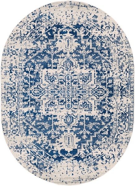 Surya Harput Dark Blue Light Gray Oval Area Rug - 108 x 79 HAP1021-679OV
