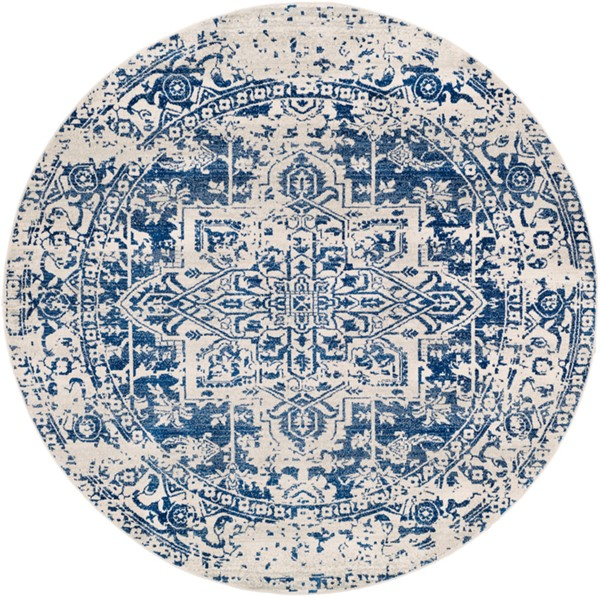 Surya Harput Dark Blue Light Gray Round Area Rug - 63 x 63 HAP1021-53RD
